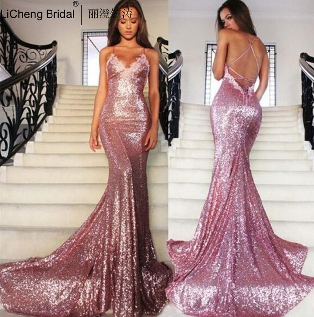 137a21d6f79 Rose Gold Sequin Mermaid Prom Dresses Long Spaghetti Strap Sexy Backless Evening  Gowns V Neck Formal Party Dress 2016 Dress