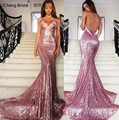 Rose Ouro Lantejoula Sereia Vestidos de Baile Longo Spaghetti Strap Sexy Backless Evening Vestidos V Neck Formal Vestido de Festa 2016 Vestido
