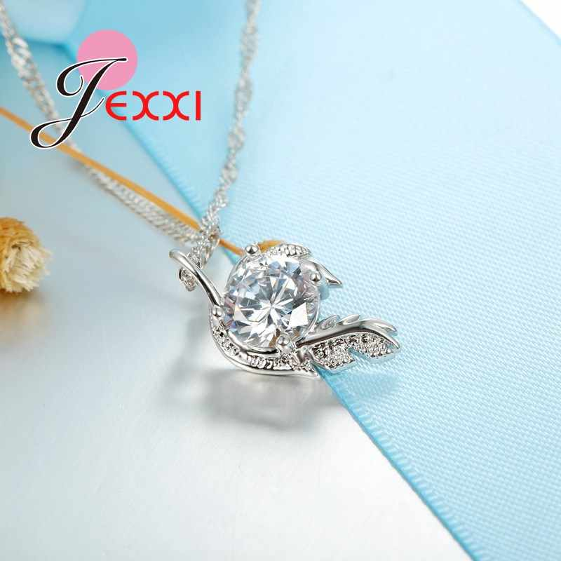 Trendy Fashion Jewelry 925 Sterling Silver Pendant Necklace 18 Inch Chain with Angle Wing Feather Design for Women Girls
