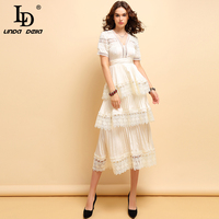 LD LINDA DELLA 2020 Fashion Spring Summer Dress Women's Sexy Deep V Neck lace up Hollow Out Elegant Pleated Champagne Dresses