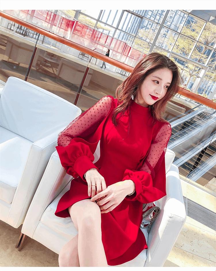 Printemps 2018 robe sexy papillon gaze lanterne manches robe couture
