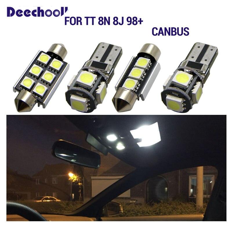 Para Q5 LED Bombilla Luz Interior de Coche Super brillante Luces lectura coche Dome Bombilla Canbus sin errores 12V Blanco 13 Piezas