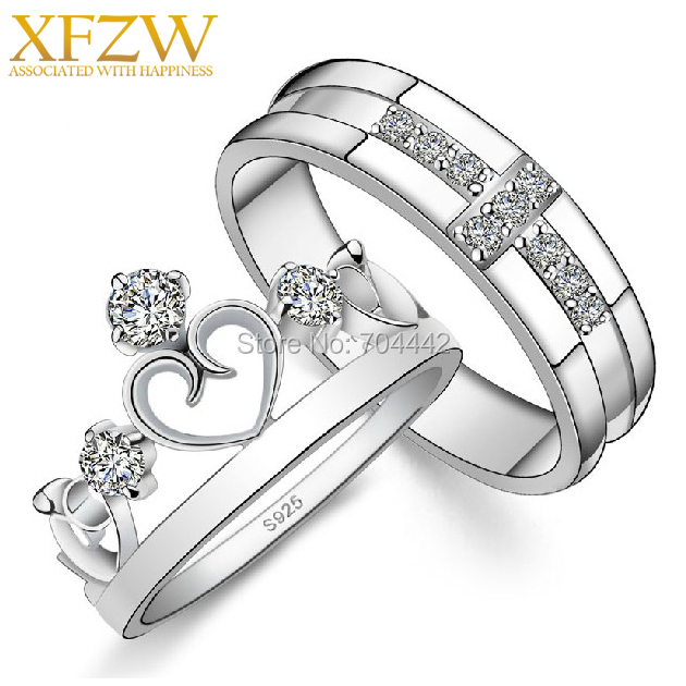 2014 Design Korean Couple Wedding Ring 925 Silver Anillos Love Crown