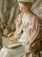 Линетт's CHINOISERIE на весну и зиму новый оригинальный дизайн для женщин Mori обувь для девочек вышивка шерстяной вязаный свитеры женщи