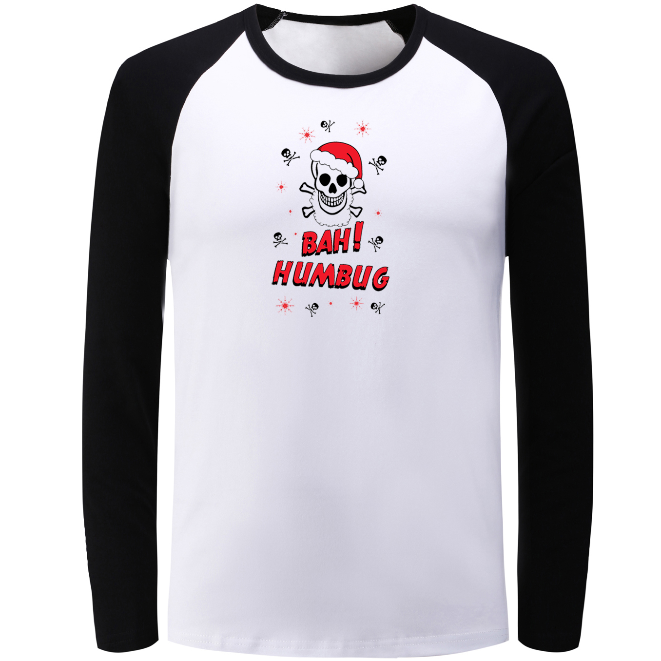 1d42dc4b IDzn Raglan Long Sleeve T-shirt Bah! Humbug Skull Christmas Graphic T Shirt  Men Women Boy Autumn Winter Street Style Tee Tops