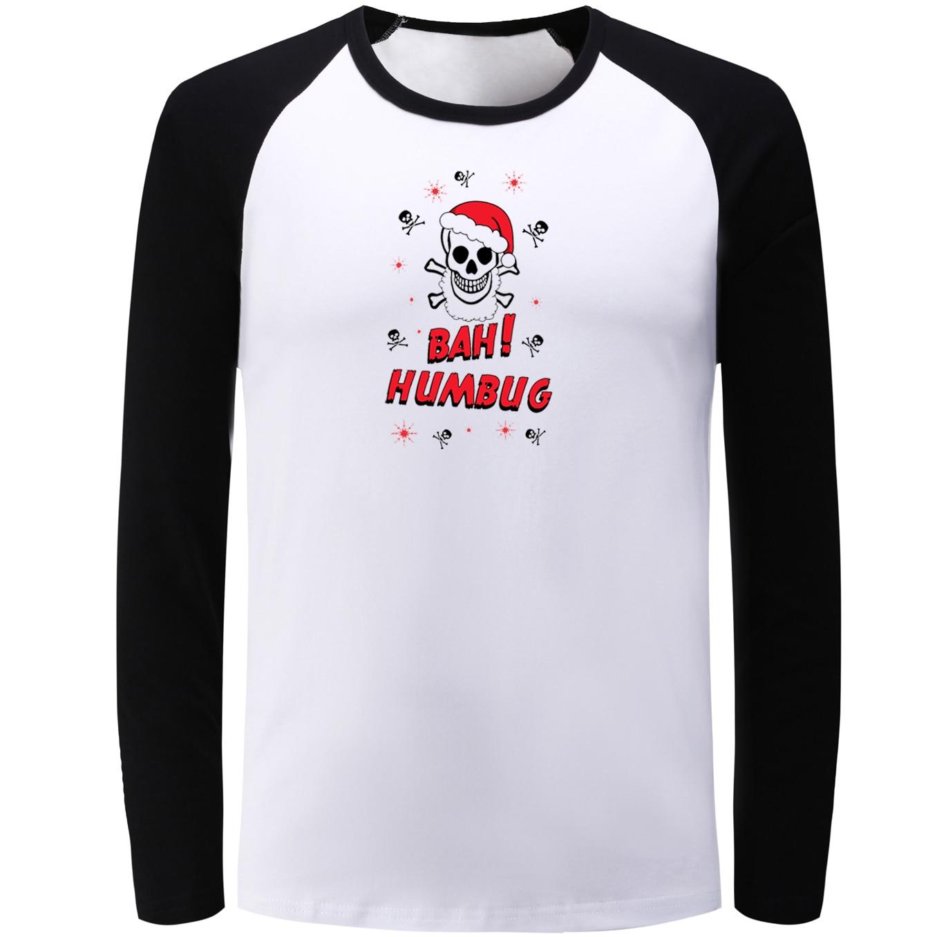 Idzn реглан футболка с длинными рукавами Бах! Вздор череп Рождество Графический Футболка Для мужчин Для женщин мальчик осень-зима Street Стиль ф...
