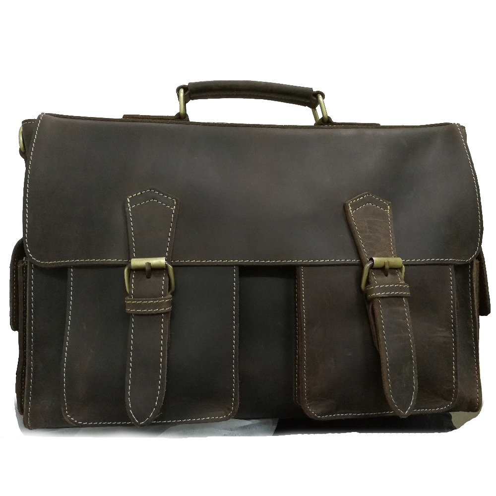 NEWEEKEND Vintage Genuine Leather Crazy Horse Large 4 Pockets Camera Crossbody Briefcase Handbag laptop iPad Bag for Man 6902