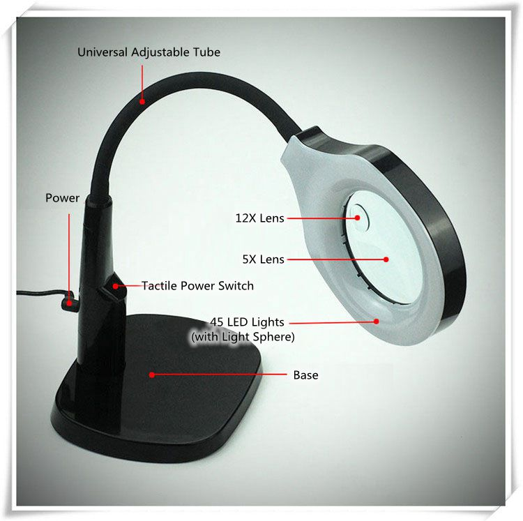 5x 12x luz lupa mesa suporte lâmpada lupa 45 led iluminante grande lupa com clipe para leitura - 3