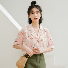 Summer Flower Print Short Sleeve Shirt Girls Shirts Blouse Kids Summer 2019