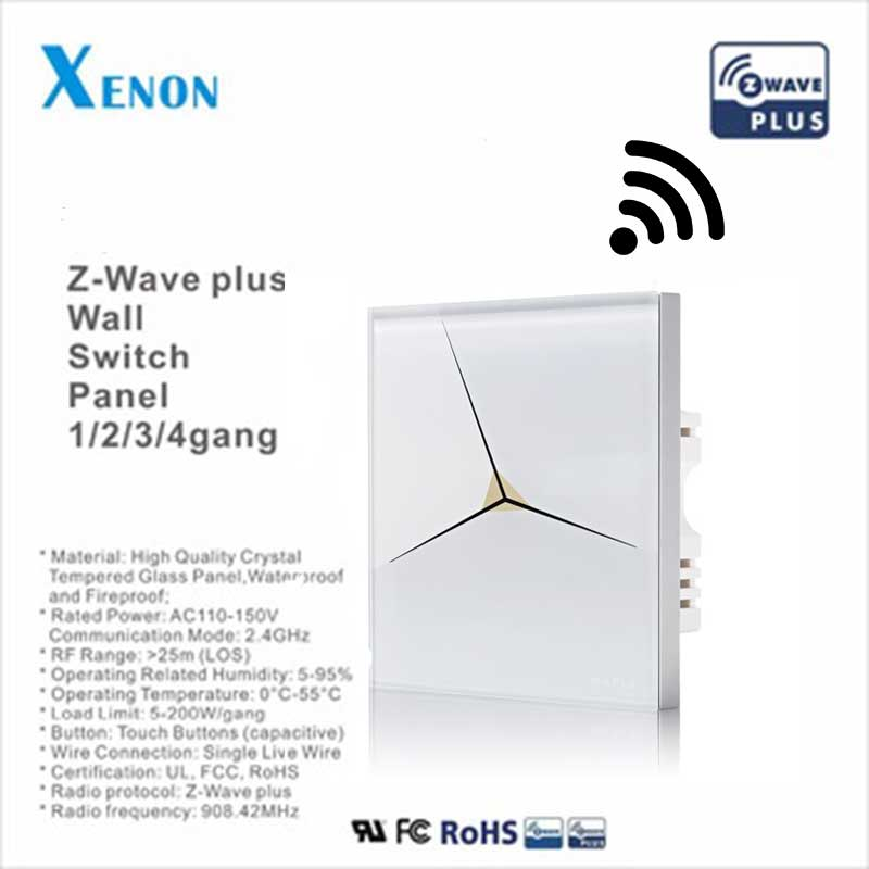 Z Wave Smart Home Sensor touch light switch panel 1 Gang EU standard ...