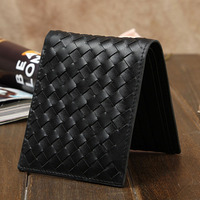 2017 New Women Weave Embossed Wallet Short Men And Women General Leather Wallet Leather Layer Leather