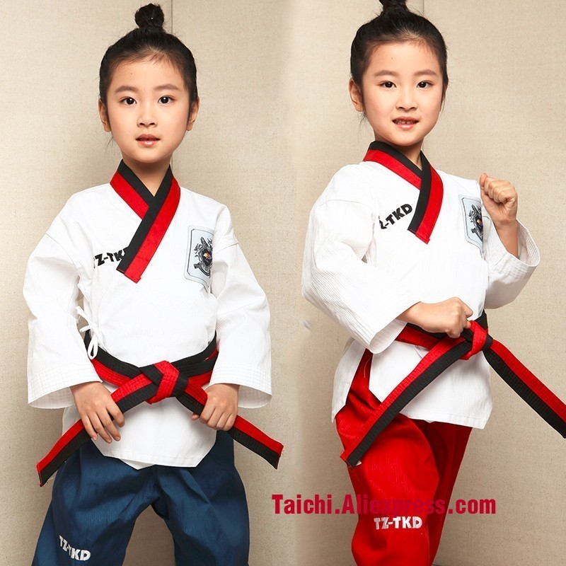 Children Tae Kwon Do Uniforms High-end TKD Taekwondo Clothes White Top Red Pants And Blue Pants Size 110-155cm