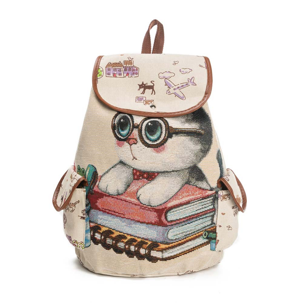 Canvas Backpack Lovely Cat Printed Drawstring Backpack Teenager Large Ladies School Bag B#Dropship