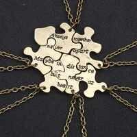 6 peça conjunto/melhor amigo colar para mulheres moda bronze irregular geométrico pingente masculino e feminino amizade jóias
