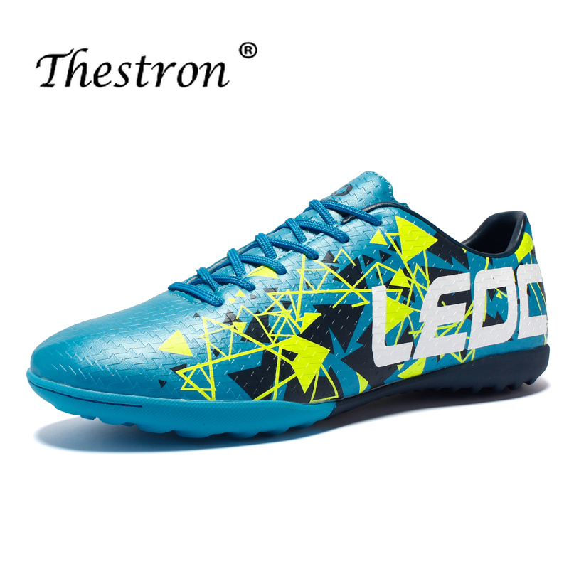 New Cool Men Soccer Shoes Sneakers Light Turf For Comfortable Big Boys Brand Blue Breathable