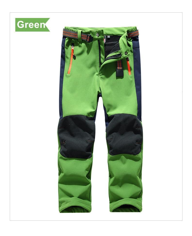 LANBAOSI Kids Winter Softshell Trousers Boys Girls Fleece Lined Waterproof Walking Hiking Trousers Pants