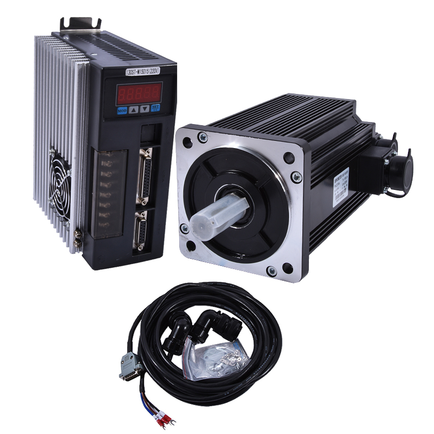 New Arrival 220V 50HZ 2.3KW AC Servo Motor Kits Three Phase Motors 22mm 15N.M 2.3KW 1500rpm 130ST-M15015 Matched Servo Driver used servo motor hc kfs053d almost new warranty for three months