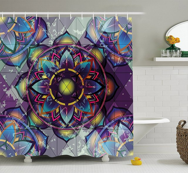 Lotus Shower Curtain Psychedelic Surreal Sacred Geometry Mandala Background With Futuristic Effects Print Bathroom Decor Set