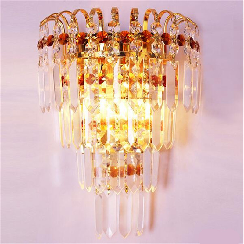 ФОТО Modern Fashion Luxurious Golden Silver K9 Crystal Led E14 Wall Lamps For Aisle Stair Living Room Bedroom 1266