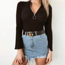 2019 Fashion Bodysuits For Women Solid Color High Collar Zipper Slim Wild Flared Sleeve Ladies