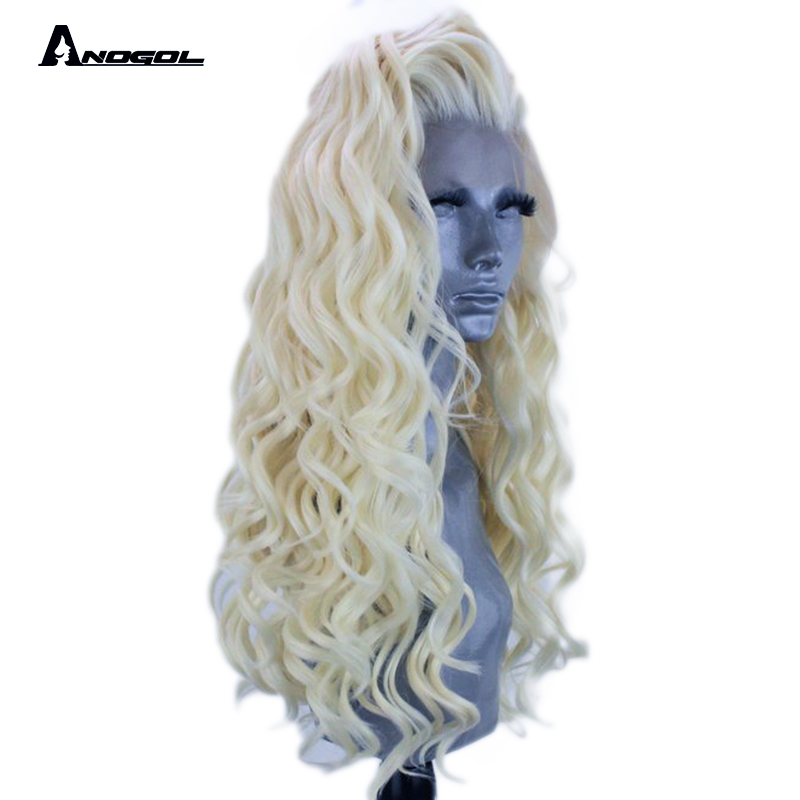Anogol High Temperature Fiber 360 Frontal Perruque Free Part Platinum Blonde Long Curly Synthetic Lace Front