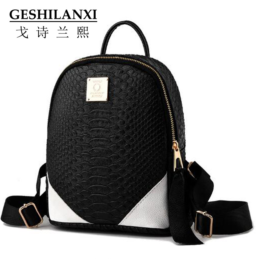 2016 bags women famous brands women backpack fashion lovely style decorate PU material embossing Pure color