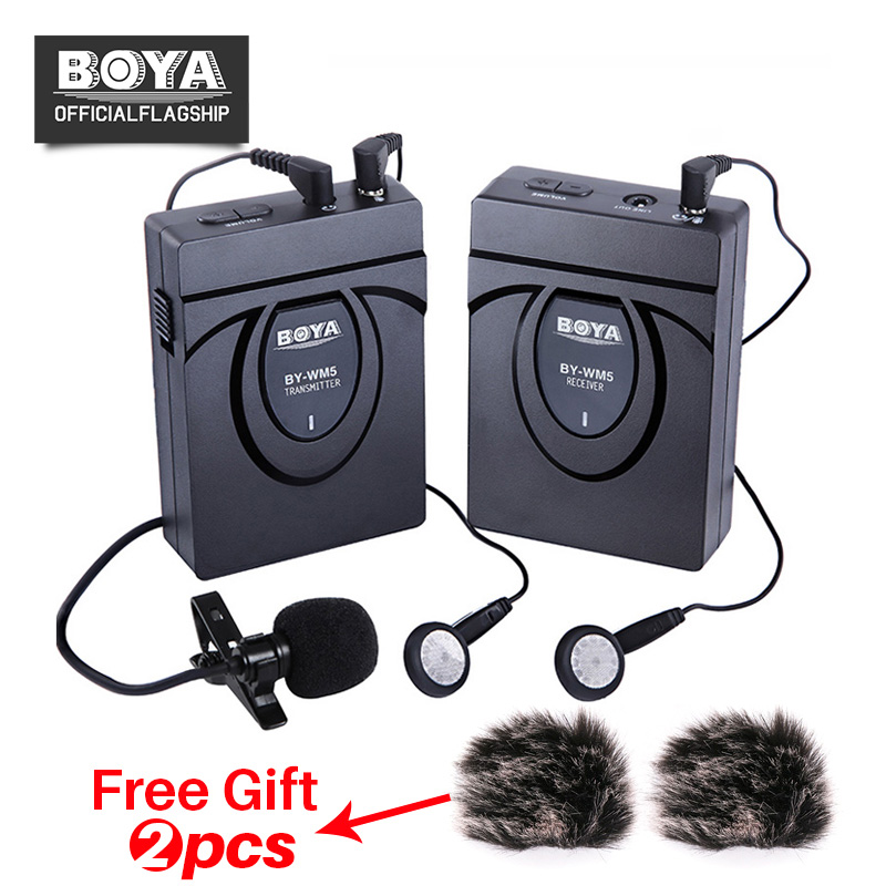 BOYA BY-WM5 Wireless Lavalier Lapel Microphone System for ENG EFP Nikon Canon Sony DSLR Camera Camcorders Audio Recorder boya by wm5 dslr camera wireless lavalier microphone recorder system for canon 6d 600d 5d2 5d3 for nikon d800 forsony dv camcord