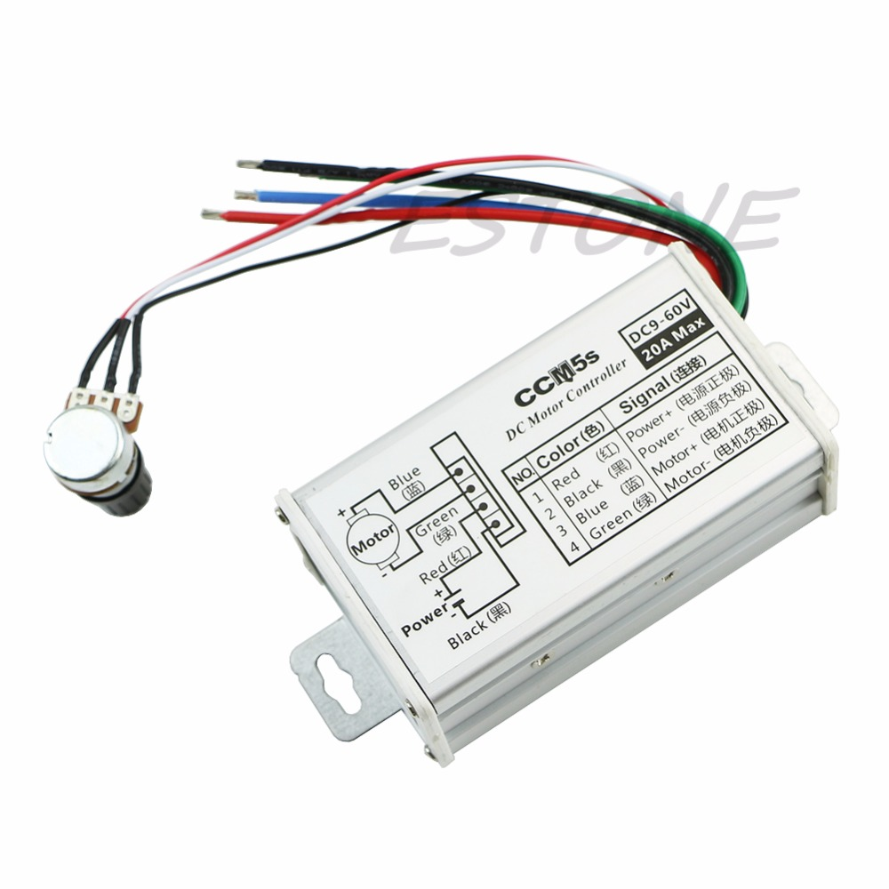 9V 12V 24V 48V 60V 20A DC Motor Speed Controller Regulator Driver PWM 25KHz New