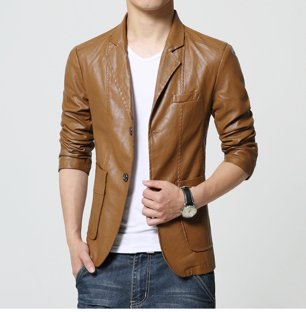 2016 Fashion Brand Male Leather Jacket Men Brown Black Plus Size Mens Faux Coats Trend Slim Fit Motorcycle Suede Jacket Blazer