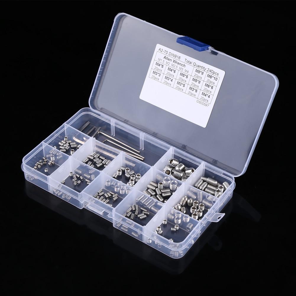 New 240pcs/Set Screws Hex Socket Set Screws Assortment Kit with Hex Keys M3/M4/M5/M6/M8 shivaki srh pm366dc сплит система внешний блок
