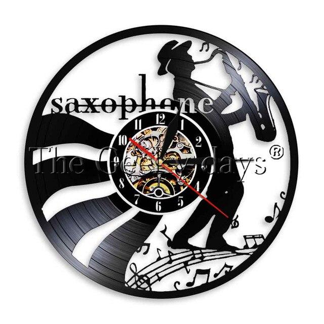 1piece jazz saxophone vinyl clock musical instrument led light wall 1piece jazz saxophone vinyl clock musical instrument led light wall art saxophonist home decorative gift for aloadofball Images