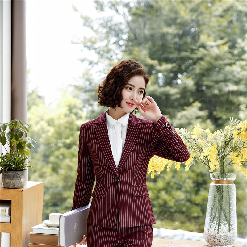 New Styles Fashion Striped Formal Blazers And Jackets Coat For Business Women Female Tops Clothes Outwear Autumn Winter Uniforms