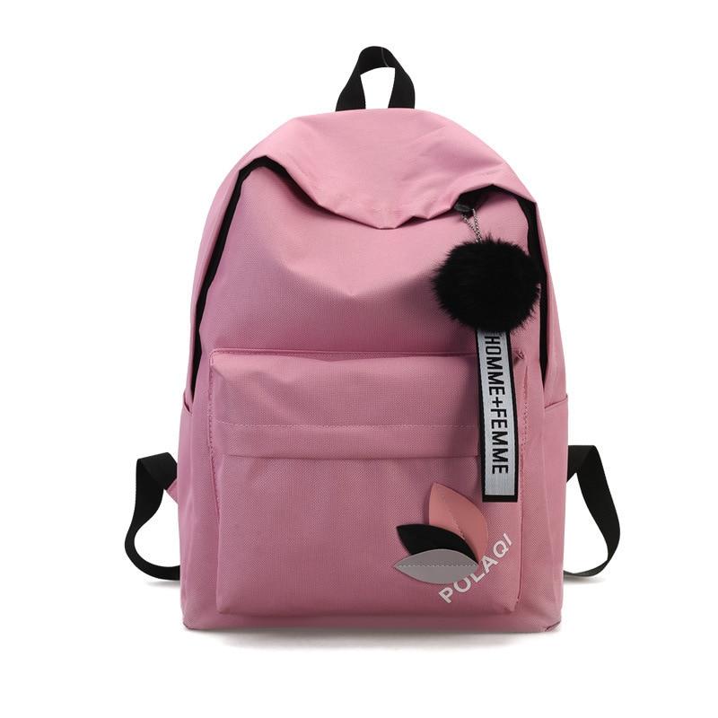 Casual Backpack School Bags for Girl Canvas Laptop Backpacks Hairball Shoulder Bag Female Bagpack Mochila Simple Design Rucksack shoulder bag