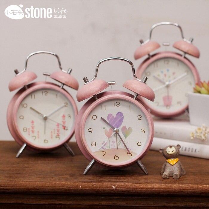 Horloge de table rétro créative réveil bureau étudiant super-calme étude chambre horloge horloge de table
