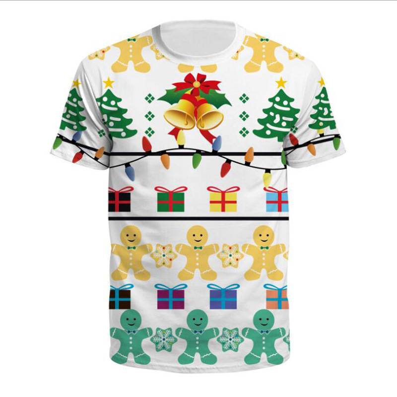 Christmas Tree 3D Print Short Sleeves Men T Shirt Harajuku Summer Funny Tshirt Male Tops Plus Size Hipster Oversized T-Shirt