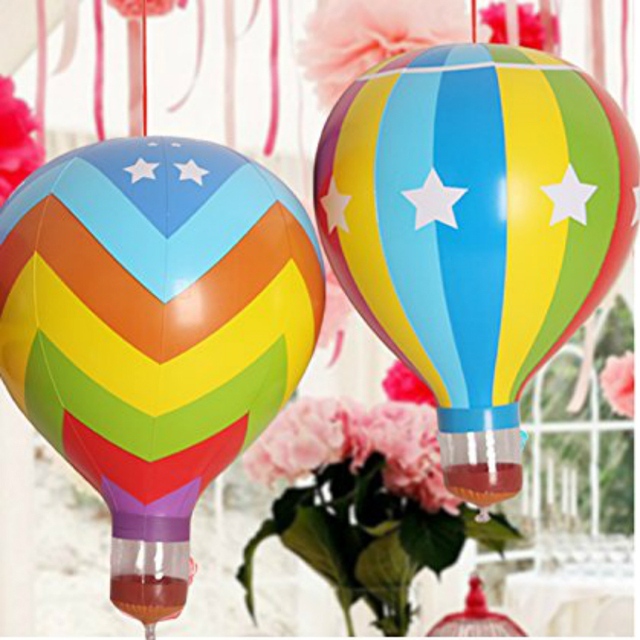 2pcs Rainbow Hot Air Balloon Inflatable Blow Ups Kids Fun Toys