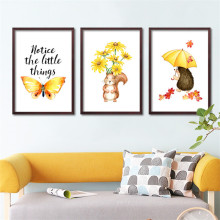 notice the little things cute animals art print poster wall home decor FG0068