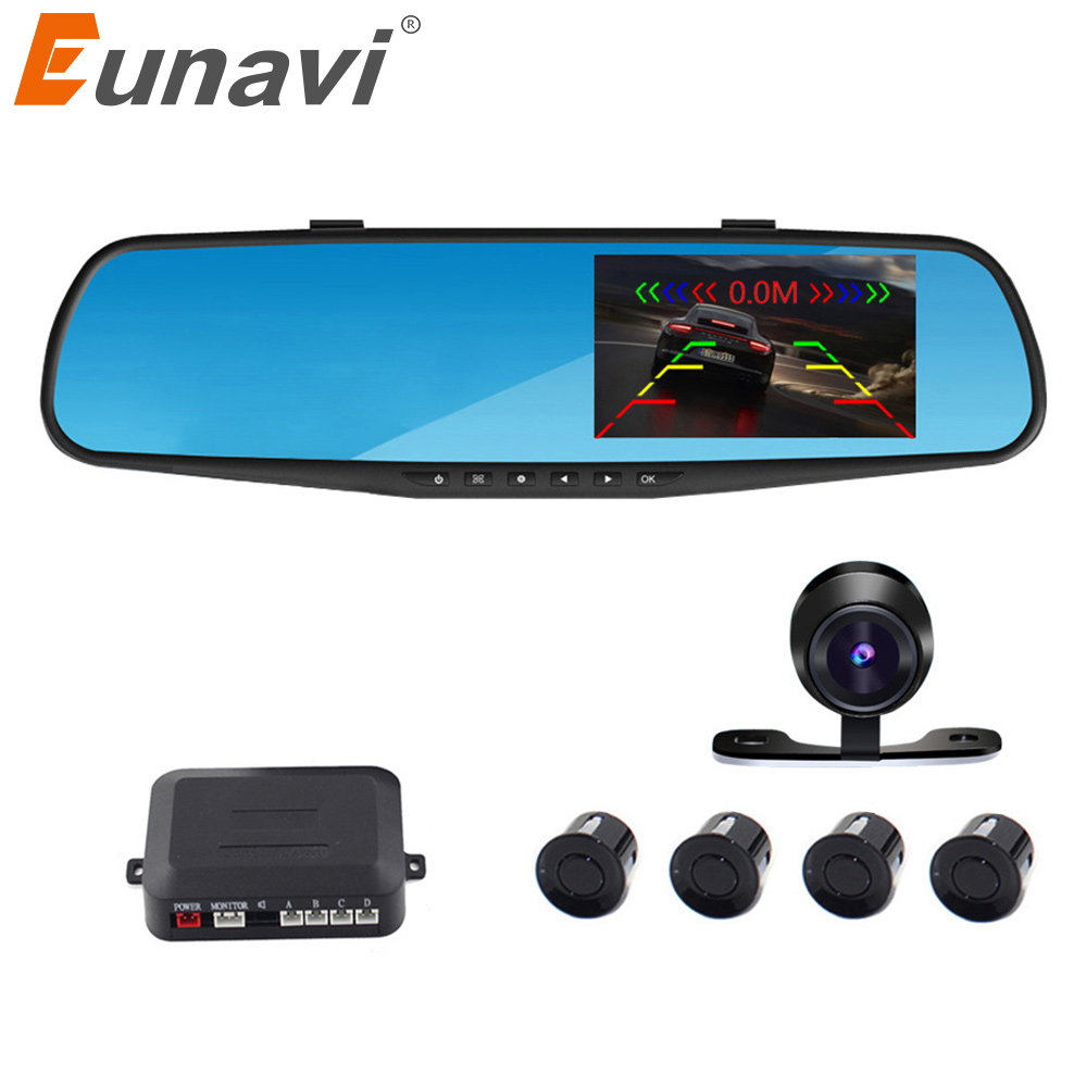 2018 Car Detector Dashcam Eunavi Car Parking Reversing Backup Alarm Security System Mirror Dvr+rearview Camera+4 Sensors Auto