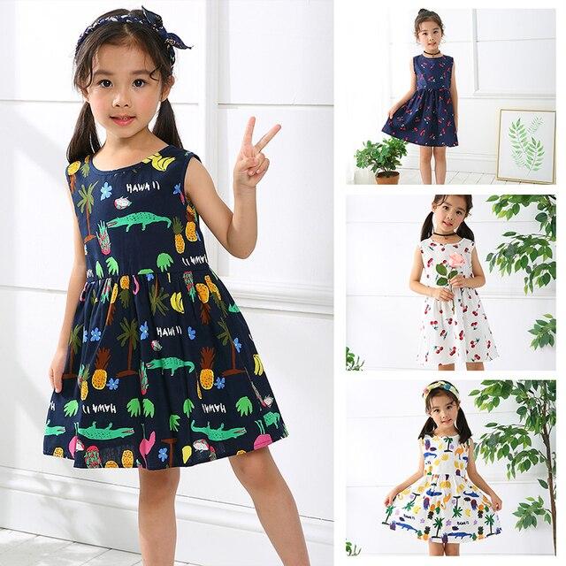 a86ff94f1 ¡Oferta! vestido de princesa con lazo de cereza de algodón de verano 2018