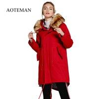 AOTEMAN 1300 г Новая зимняя Женская парка с капюшоном Повседневная куртка длинный искусственный мех Hoddy женский толстый теплый пальто Drawstring outwear