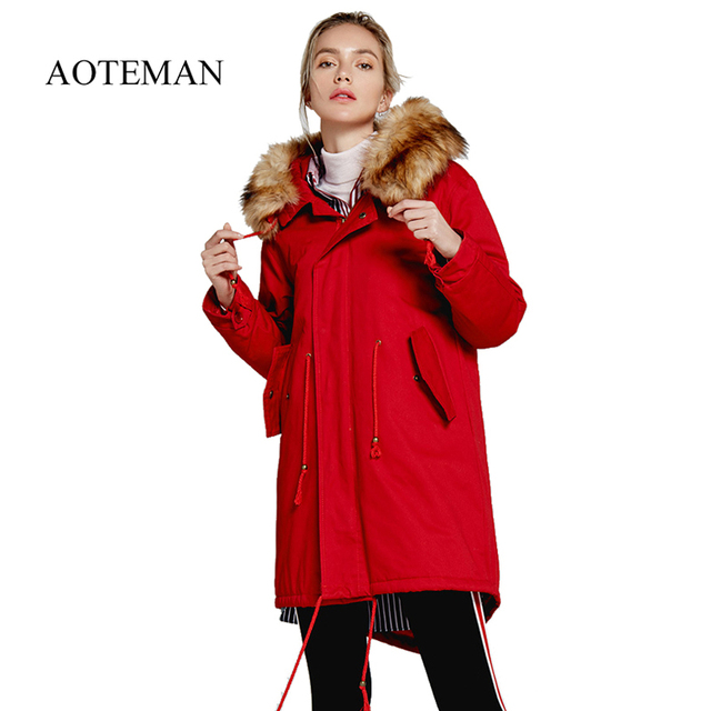 Big Sale AOTEMAN 1300g New Hooded Winter Women Parka Casual Jacket Long Faux Fur Hoddy Female Thick Warm Coat Drawstring Outwear Parka