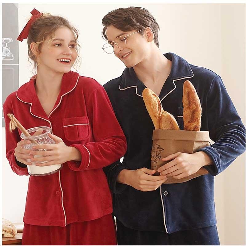Couple Lover Pajama Set Mujer Winter Pyjamas Warm Pajamas Set Women Home Wear Plush Pajamas Flannel Pijama
