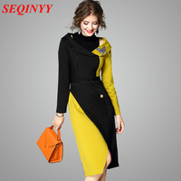 Striped Colors Patchwork Dress 2017 Early Autumn Fashion Full Sleeve Turtleneck Slash Shoulder Embroidery Split Women