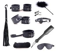 Adult Games Erotic Toys for Woman Bondage Restraints Handcuffs Bdsm Collar Rope Nipple Clamps Mouth Gag Mask Whips 10 Piece Set