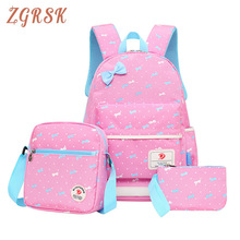 Girls 3pcs/set Fashion Printing School Bags For Teen Bow Nylon Back Pack Schoolbags High Capacity Backpacks Backpack