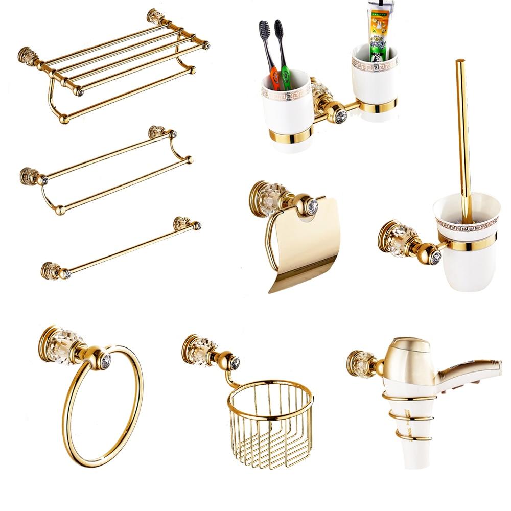 Europa Antike Gold Badezimmer Zubehör Set Solide Messing Hardware Runde Basis Poliert Badezimmer Sets Heimwerker Bad Hardware