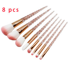 Crystal 8 pcs Unicorn Brushes Makeup Brushes Set nylon eyebrow hair Eye shadow Cosmetic powder Brushes Golden Rose Portable Hair(China)