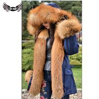 BFFUR Gorgeous Long Fur Parka With Gold Fox Fur Trim Hood 2018 Plus Size Clothing Fluffy Fur Jacket Real Fur Whole Skin Warm Top