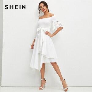 Image 4 - שיין אלגנטי לבן לייזר לחתוך שרוול ממחטת Hem כבוי כתף שמלת נשים מוצק חגור Fit ואבוקת קיץ המפלגה midi שמלות