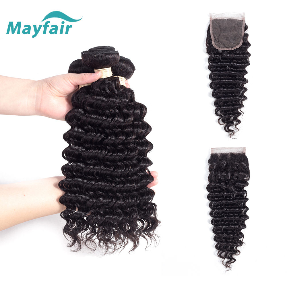 Mayfair Hair 3 Bundles Deep Wave With Closure Human Hair Bundles With Closure Brazilian Hair Weave Bundles Remy Hair Extension